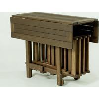 Conjunto Mesa Dobrável Gourmet De Madeira Com 4 Cadeiras Dobráveis Cor Nogueira - 100X94,5X75 Cm