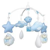 Móbile Musical Carneiro, Nuvens E Balão Azul Quarto Bebê Infantil Menino Azul Potinho De Mel