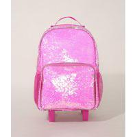 Mochila Infantil Paetês Com Rodas Pink