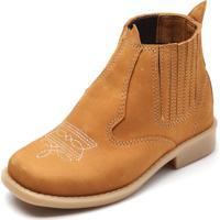 Bota Cotinha Ousy Shoes Couro Kids Caramelo