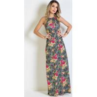 8784af95c Posthaus; Vestido Longo Floral Frente Única