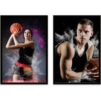 Quadro Oppen House 60X80Cm Esporte Duo Basquete Jogadores E Bola Moldura Preta Com Vidro