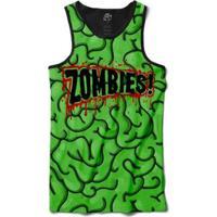 Regata Bsc Cerebro Zombie Louco Sublimada Masculina - Masculino-Preto+Verde