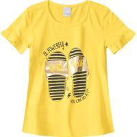 Blusa Com Inscrições - Amarela & Azul Marinho - Primmalwee