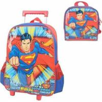 Mochila Com Rodinhas Superman E Lancheira Masculina - Masculino