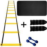 Kit Colchonete Eva Azul 20Mm + Par Halter 1Kg + Par Caneleira 3Kg + Escada Agilidade Nylon - Unissex