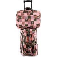 Jogo Malas Giulianna Fiori Travel Set Magnolia Com Rodas + Capa Para Notebook E Celular Em Patchwork Original