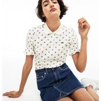 Camisa Polo Lacoste Live Slim Fit Estampada Feminina - Feminino-Branco