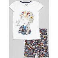 """Conjunto Infantil De Blusa """"Girls"""" Manga Curta Off White + Bermuda Estampada Floral Azul Marinho"""