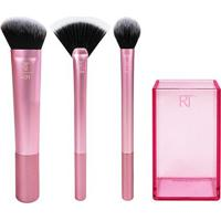 Kit Para Acabamento Real Techniques 3 Pincéis + Brush Cup - Feminino-Pink+Preto