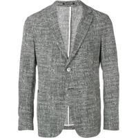 Emporio Armani Single Breasted Tweed Coat - Cinza