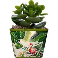Cachepot Urban Home De Cerâmica Verde Quadrado Green Leaves 40391 N