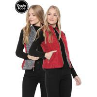 Colete Polo Wear Dupla-Face Gola Alta Vermelho/Cinza