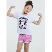 Pijama Infantil Estampa Minnie Xadrez Disney