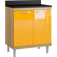 Balcão Para Cooktop 2 Portas C/ Tampo Sicília - Multimóveis - Argila / Amarelo