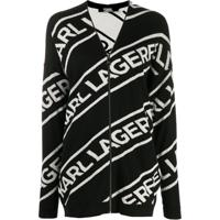 Karl Lagerfeld Cardigan Com Zíper E Logo - Preto