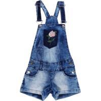 Macacão Jeans Juvenil Para Menina - Azul