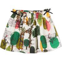 Burberry Kids Tree Print Cotton Silk Skirt - Branco