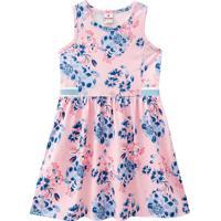 Vestido Floral Com Recortes- Rosa Claro & Azul Marinho