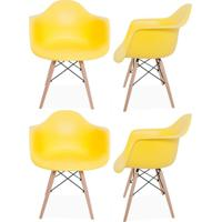 Kit 04 Cadeiras Decorativas Lyam Decor Melbourne Amarelo. - Tricae