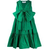 Msgm Vestido De Tafetá Com Detalhe Franzido E Laço - Verde