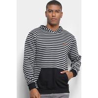 Blusão Costão Fashion Style Listrado C/ Capuz Masculino - Masculino-Preto