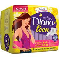 Absorvente Diana Active Teen Suave Com Abas Com 8 Unidades