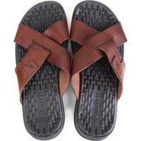 Chinelo Couro West Coast Carmel Sandals Masculino - Masculino-Marrom