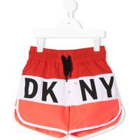 Dkny Kids Short De Natação Com Listras E Logo - Vermelho