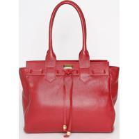 Bolsa Em Couro Com Amarração- Vermelha- 29X33,5X16,5Anette