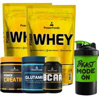 Kit 2 Power Whey 900G Creatina 300G Bcaa 120Cáps Glutamina 300G - Powerfoods Coquet. 500 Ml Multicolorido