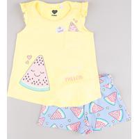 Conjunto Infantil De Regata Melancia Com Babado Amarela + Short Estampado Azul Claro