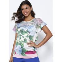 Blusa Floral Com Recortes & Renda- Branca & Verde- Nnectarina