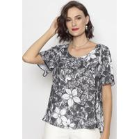 Blusa Floral- Preta & Branca- Cotton Colors Extracotton Colors Extra
