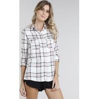 Camisa Feminina Estampada Xadrez Com Lurex Manga Longa Off White