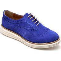 Sapato Oxford Q&A Camurça Feminino - Feminino-Azul