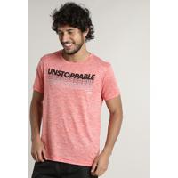 "Camiseta Masculina Esportiva Ace ""Unstoppable"" Manga Curta Gola Careca Laranja"
