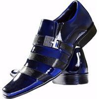 a2087b45e9 ... Sapato Social Gofer Couro Verniz - Masculino-Preto+Azul