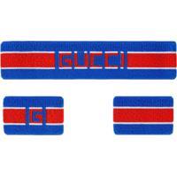 Gucci Headband E Munhequeira Gucci Com Listras - Azul