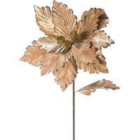 Flor Decorativa Metalizada- Dourada- 60X25X25Cm-Cromus