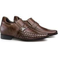 Sapato Social Couro Rafarillo Salto 7Cm Conforto Masculino - Masculino-Amadeirado