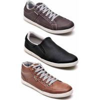 Kit 3 Pares Tênis Casual Mac Point Masculino - Masculino-Marrom+Preto