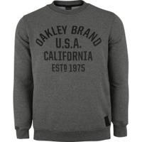 Blusão De Moletom Oakley Athletic Crew - Masculino - Cinza Esc Mescla