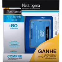 Protetor Solar Facial Neutrogena Sunfresh Fps 60 50G Grátis Lenço Demaquilante 25 Unidades