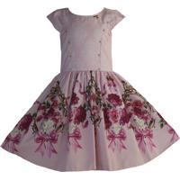 Vestido Katitus Juvenil Flores Espelho Rosa