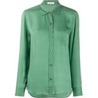 Equipment Camisa De Seda Com Estampa Geométrica - Verde