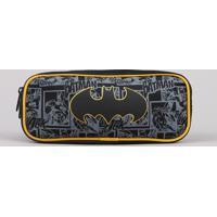 Estojo Escolar Infantil Batman Com Divisórias Preto
