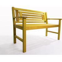 Banco Para Jardim 2 Lugares Echoes - Banco De Madeira Com Encosto - Cor Amarelo - 115X66X85 Cm