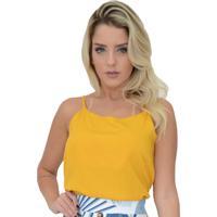 Blusa Mamorena Decote V Costas Com Renda E Amarração Amarelo