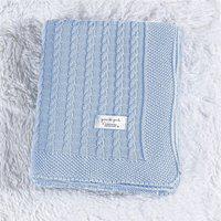 Manta Bebê Azul Tricot Ponto Trança 80Cm Gráo De Gente Azul
